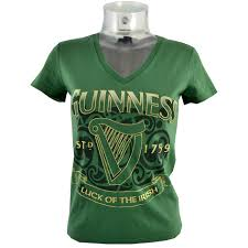 BUY GUINNESS GREEN HARP LUCK OF THE IRISH LADIES T-SHIRT IN WHOLESALE ONLINE