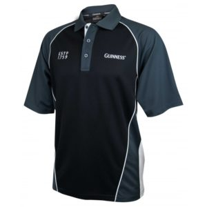 BUY GUINNESS BLACK GREY PANELLED PERFORMANCE GOLF SHIRT IN WHOLESALE ONLINE