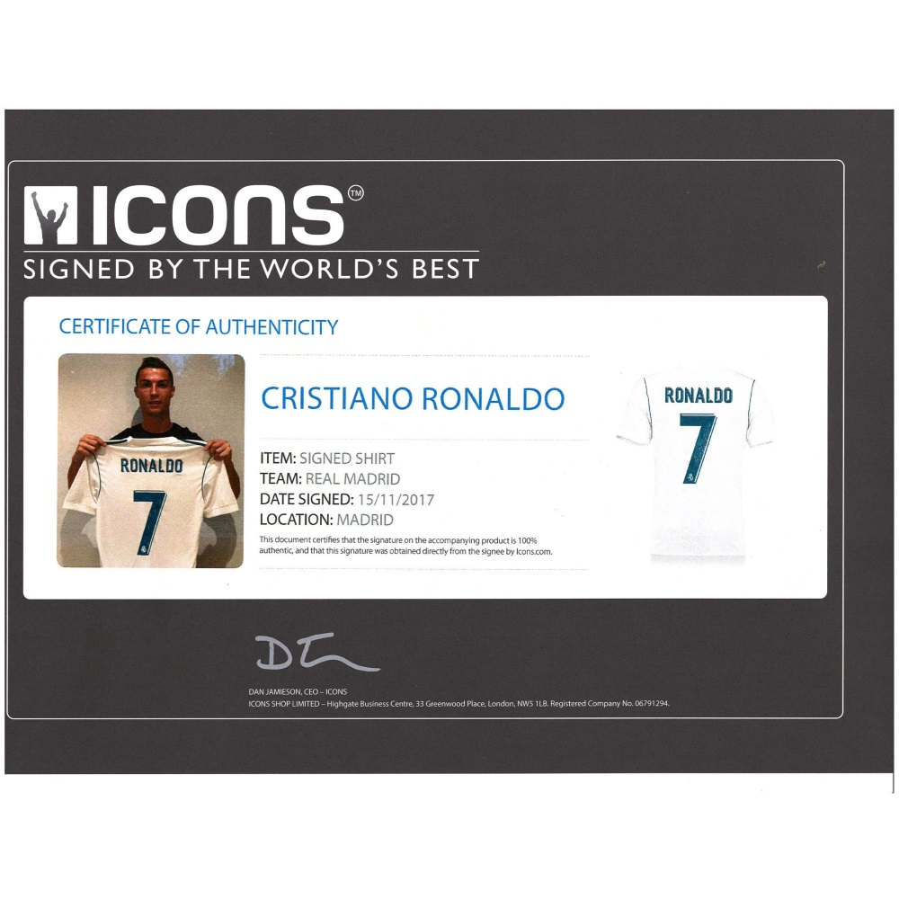 best sneakers 3fbdb d9270 CRISTIANO RONALDO - AUTHENTIC SIGNED 2017-18 REAL MADRID JERSEY