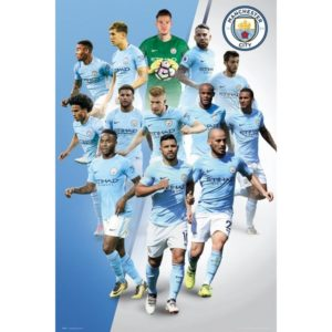 BUY MANCHESTER CITY 2017-18 PLAYER COLLAGE POSTER IN WHOLESALE ONLINE