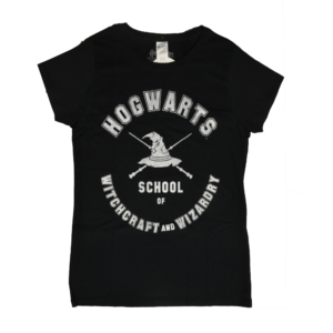 BUY HARRY POTTER BLACK HOGWARTS LADIES T-SHIRT IN WHOLESALE ONLINE