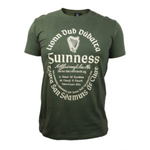 BUY GUINNESS KHAKI GREEN GAELIC LABEL T-SHIRT IN WHOLESALE ONLINE