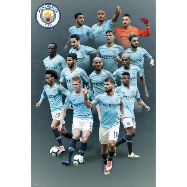 BUY MANCHESTER CITY 2018-19 PLAYERS COLLAGE POSTER IN WHOLESALE ONLINE