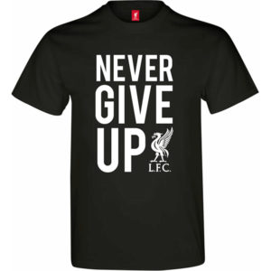 BUY LIVERPOOL BLACK NEVER GIVE UP T-SHIRT IN WHOLESALE ONLINE