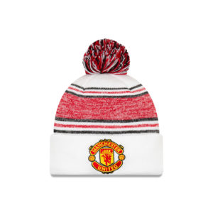 BUY MANCHESTER UNITED WHITE RED NEW ERA KNIT POM BEANIE IN WHOLESALE ONLINE