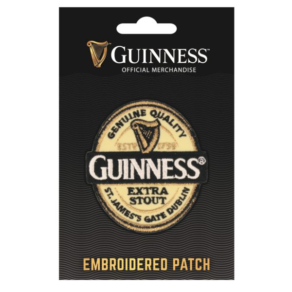GUINNESS LABEL EMBROIDERED IRON ON PATCH