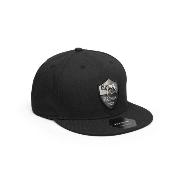 AS ROMA BLACK FLAT PEAK SNAPBACK