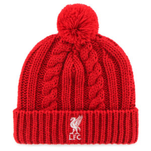 LIVERPOOL RED CABLE KNIT POM BEANIE