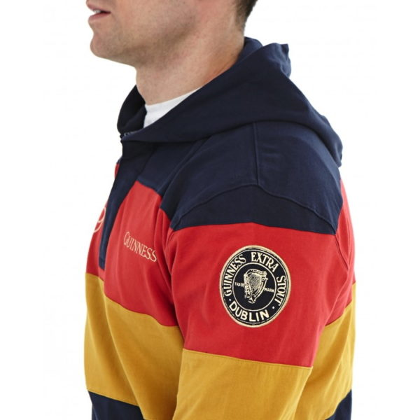 BUY GUINNESS NAVY PANELLED HOODED RUGBY SHIRT IN WHOLESALE ONLINE