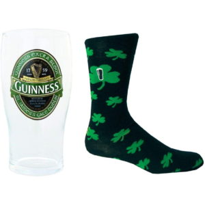 BUY GUINNESS GREEN IRELAND PINT GLASS & SHAMROCK SOCKS SET IN WHOLESALE ONLINE