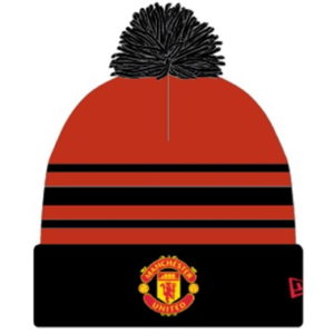 BUY MANCHESTER UNITED KNITTED NEW ERA RED & BLACK POM BEANIE IN WHOLESALE ONLINE