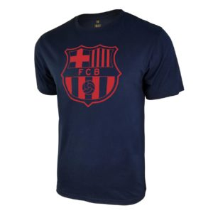 BUY BARCELONA NAVY TEAM CREST POLY COTTON T-SHIRT IN WHOLESALE ONLINE
