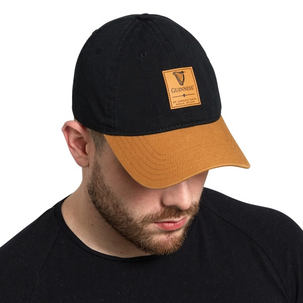 BUY GUINNESS BLACK & CARAMEL CAP WITH LEATHER PATCH IN WHOLESALE ONLINE