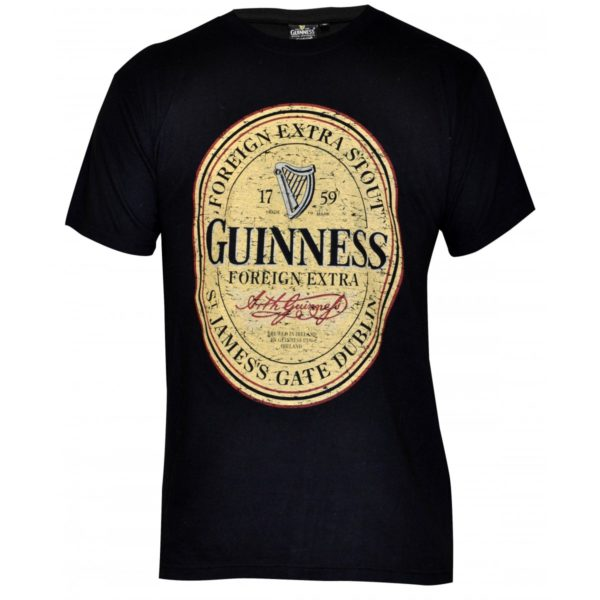 BUY GUINNESS BLACK DISTRESSED ENGLISH LABEL T-SHIRT IN WHOLESALE ONLINE