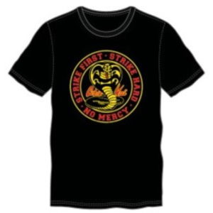 BUY COBRA KAI STRIKE FIRST STRIKE HARD NO MERCY T-SHIRT IN WHOLESALE ONLINE