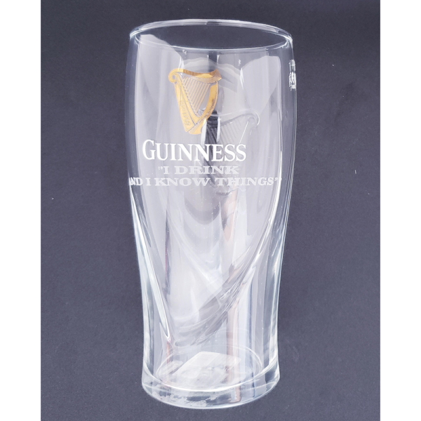 BUY GUINNESS I DRINK AND I KNOW THINGS ENGRAVED PINT GLASS IN WHOLESALE ONLINE